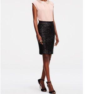 Ann Taylor Black Sequins Pencil Skirt